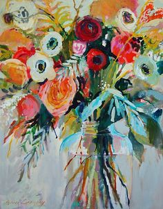 """Orchids and Peonies"" by Erin Gregory, 48"" by 60"" on gallery wrap, $1900 
