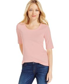Charter Club Solid Elbow-Sleeve Top, Only at Macy's