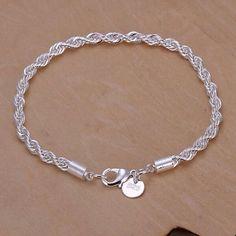 925k sterling silver charm Rope Lovely Bracelet Brand new Jewelry Bracelets
