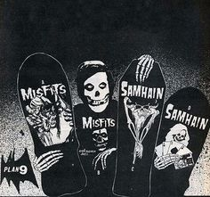 print ads for the Misfits/Samhain skateboards Old School Skateboards, Vintage Skateboards, Skate Decks, Skateboard Decks, Skateboard Pictures, Danzig Misfits, Skate And Destroy, Skate Art, E Mc2