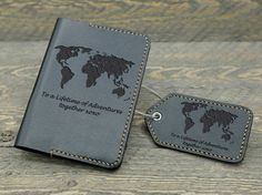 Personalized Passport Cover Luggage Tag with World Map, Leather Passport Cover, Leather Luggage Tag, Wedding Gift, Travel Gift Travel Gifts, Travel Bags, 3rd Anniversary Leather, Diy Gifts For Him, Guy Gifts, Leather Luggage Tags, Tag Luggage, Personalized Luggage Tags, Leather Notebook