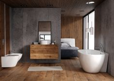 Przyścienna wanna ScandiBath Mandal z rantem na baterie. Home Interior, Interior Design, Wall Treatments, House In The Woods, Home Decor Trends, Home Accents, Master Bathroom, Living Room Furniture, Home Accessories