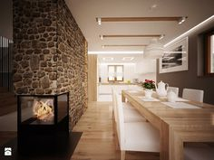 Some nice colors, . although there is a stone wall, . it kind of matches the palette. the fire place is also cool. Beautiful Homes, Brick, Dining Room, Cool Stuff, Table, House, Furniture, Home Decor, Kitchens