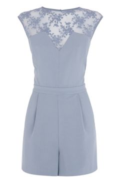 Blue Mesh Lace Playsuit from Warehouse another great Spring wedding outfit