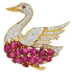 Diamond and Ruby Swan Pin