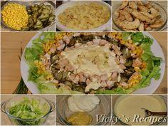 Salată cu paste, piept de pui și porumb – Vicky's Recipes Cobb Salad, Food, Salads, Essen, Meals, Yemek, Eten