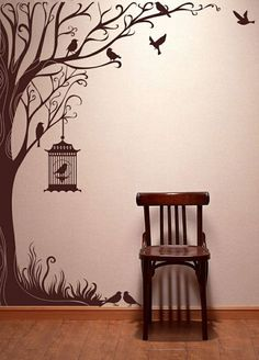Tree decal wall stickers nature decals home inch Tall Autumn Tree wall… Wall Painting Decor, Tree Decals, Window Decals, Wall Decal, Wall Drawing, Tree Wall Art, Cool Walls, Wall Design, House Design