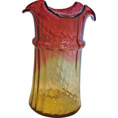 """American New England Amberina Art Glass Celery Vase 7 ½"""" TWO Patterns Vertical Lobes AND Slanted Diamond Quilted Amber-to-Cranberry Red c 1880"""