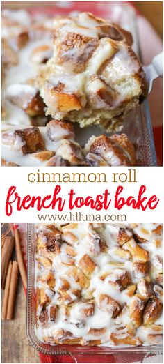 christmas breakfast This overnight Cinnamon Roll French Toast Bake gives you all the ooey gooey goodness of warm cinnamon rolls, with the ease of an overnight breakfast casserole. Its the perfect breakfast or brunch item during the holidays! Breakfast Party, Breakfast Bake, Breakfast Dishes, Breakfast Recipes, Snack Recipes, Perfect Breakfast, Office Breakfast Ideas, Crockpot Recipes, Breakfast Cassarole