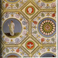 """Syon House - detail of the ceiling of the Red Drawing Room, p. 148] """"The English Country House; From the Archives of Country Life"""", Rizzoli pub."""