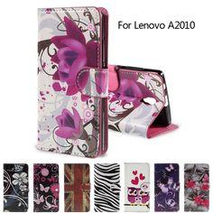 Pour Lenovo A 2010 PU Sac En Cuir Carte Slots Flip Horizontal couverture pour Lenovo A2010 avec Support Cas Portefeuille le Cas Délicat Fleurs