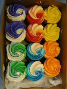 Cupcakes- multi color icing
