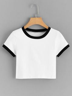 Shop Contrast Ringer Crop Tee at ROMWE, discover more fashion styles online. Cute Comfy Outfits, Stylish Outfits, Jugend Mode Outfits, Belly Shirts, Vetement Fashion, Cute Crop Tops, Crop Top Outfits, Teen Fashion Outfits, Woman Clothing