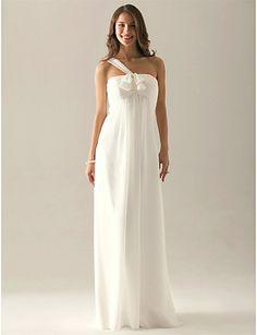 B: Dress idea -> Empire One Shoulder Floor-length Chiffon Over Elastic Satin Bridesmaid/ Wedding Party Dress - USD $ 89.99