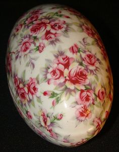 Norcrest, Japan Rose Chintz Egg Trinket Box, B-380 comes from the Ruby Lane Shop of Karen's Little Red Wagon.