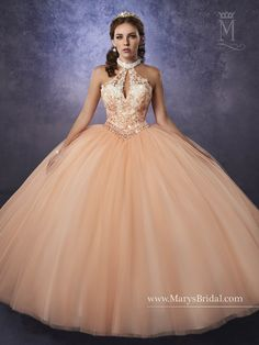 Elegant and beautiful, you'll love wearing Mary's Bridal Princess Collection Quinceanera Dress Style 4Q487 at your Sweet 15 party or at any formal event. Halter tulle quinceanera ball gown with beaded