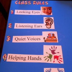 """Preschool class rules! We use something pretty much just like this! The kids helped make up a song to the tune of """"Are You Sleeping?"""" so cute!"""
