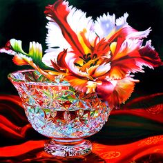 Parrot Tulip and Red Silk . oil painting by Soon Y. Warren