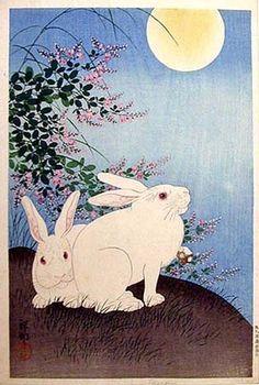hanga gallery . . . torii gallery: Rabbits and Bush Clover by Ohara Koson