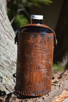 tribal Jabba the hut growler carrier by oakashleather on Etsy