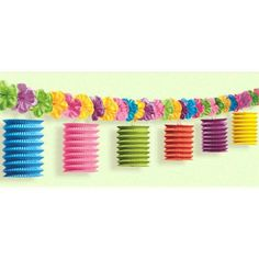 Splash some color into any luau party with our Tiki Lounge w/Flowers Lantern Garland, featuring paper accordion style lanterns. Lanterns are island pink, blue, orange and green and hang from a string of fabric tropical flowers. Garland measures 10'.