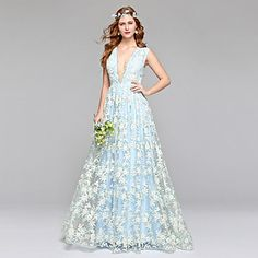 Lanting+Bride®+A-line+Wedding+Dress+Wedding+Dress+in+Color+Floor-length+V-neck+Lace+Tulle+with+Lace+–+USD+$+179.99