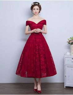 Off Shoulder Vintage Inspired Lace Dress