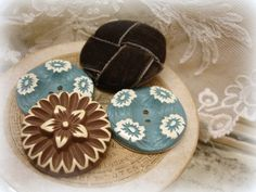 veRy vintage buffed celluloid buttons and a by UnfinishedBusiness, $10.75
