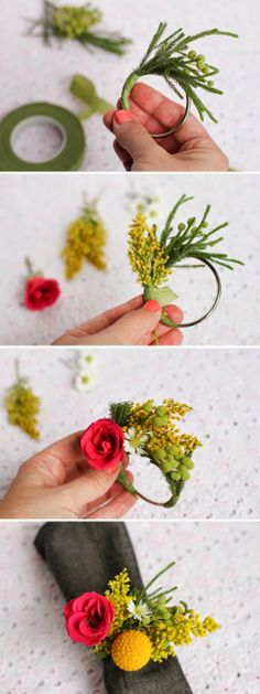 DIY Floral Napkin Rings from www. DIY Floral Napkin Rings from www. Deco Floral, Floral Design, Diy Party, Ideas Party, Fresh Flowers, Silk Flowers, Floral Arrangements, Flower Arrangement, Diy And Crafts