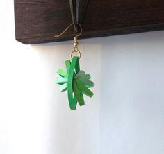 Paper Earrings Green Paper Quilled Earrings by ElinaQuills