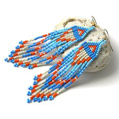 Blue seed bead earring   beadwork jewelry  beaded by Anabel27shop