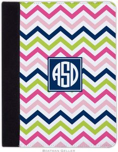 Chevron Pink, Navy & Lime (Preset) - Personalized IPad Folding Case #pink #gifts #tech