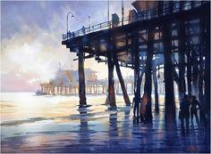 Santa Monica Beach Pier. Thomas W Schaller. Watercolor 22x30 inches.