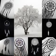 Winter selection of my works #winter #naturelovers #dreamcatcher #attraperêves #atrapasueños #traumfänger #dromenvanger #acchiappasogni #macrame #macramelove #handmade #etsyartist #etsyshop #bohodecor #bohohome #interior #bohemian #crochet #mandala  link in the bio