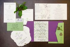 Purple and green invitations // Photographer: Hunter Ryan Photo, Floral Design: Isn't She Lovely Florals, via: http://theeverylastdetail.com/purple-chic-nature-inspired-wedding/