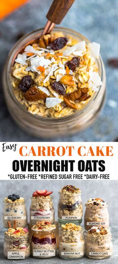 TheseCarrot Cake Overnight Oatsare made with hearty rolled oats, shredded carrots, coconut and cozy warm spices. It's ahealthyand easy make ahead breakfast that your entire family will love. Gluten free, vegan and requires only 5 minutes of prep time!#overnightoats #carrotcake Gluten Free Recipes For Breakfast, Delicious Breakfast Recipes, Savory Breakfast, Sweet Breakfast, Breakfast Time, Brunch Recipes, Breakfast Ideas, Yummy Recipes, Dessert Recipes