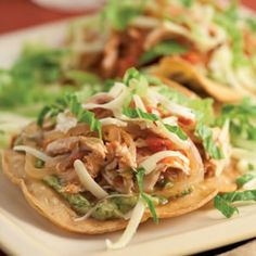 Crispy Turkey (or Chicken) Tostadas. Shredded leftover turkey (or chicken) tops homemade tostadas in this Tex-Mex favorite. Spicy Recipes, Lunch Recipes, Mexican Food Recipes, Dinner Recipes, Cooking Recipes, Healthy Recipes, Mexican Meals, Leftovers Recipes, Potato Recipes