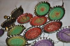 Metal bottle cap earrings