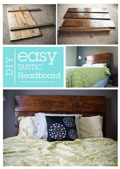 LOVE THIS DIY! Make this easy rustic headboard in a day! Minimal work and materials, but it makes such a statement for a bedroom.