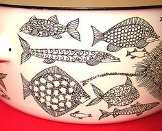Enamel Dishes, Enamel Ware, Fish Dishes, Mid Century, Pottery, My Love, Tattoos, Creative, Gifts