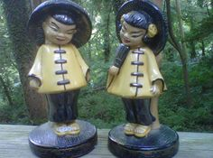 Asian Chalkware Lamps Bamboo Bedside Lamps Mid Century Mad Men Set of 2 Mad Men Rockabilly Pin Up, Above And Beyond, Burning Man, Betsey Johnson, Chinese Figurines, Man Set, Bedside Lamp, Boho, Art Boards
