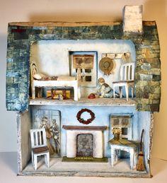 1810 Cottage - Artist Doll House by SusanHopkirkFolkArt on Etsy