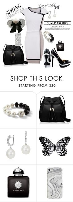 """""""Classy outfit White & Black"""" by kercey ❤ liked on Polyvore featuring Karen Millen, White House Black Market, Fendi, Kate Spade, Blue Nile, Visionnaire, AMOUAGE and Recover"""