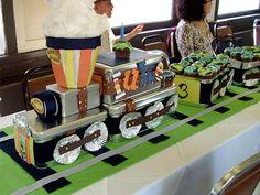Tren con dulces:¡supercentro de mesa para una fiesta!
