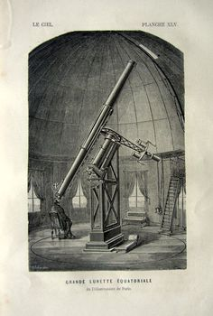 Antique Astronomy print, 1870 vintage TELESCOPE print, Astronomical Instruments heavens sky plate, Large Equatorial telescope.