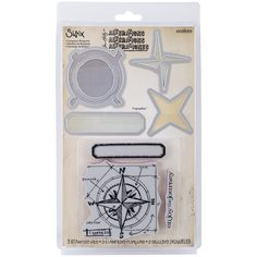 Sizzix Framelits Dies W/Clear Stamps By Tim HoltzCompass Blueprint