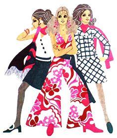 Sixties fashion illustration by Ans van Emden,Libelle (Dutch) January 1969