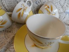 4 cups Yellow  Autumn Gold pattern, Vintage,  Wheat Leaf Gold Rim,   Century Service Corporation, Ohio, USA