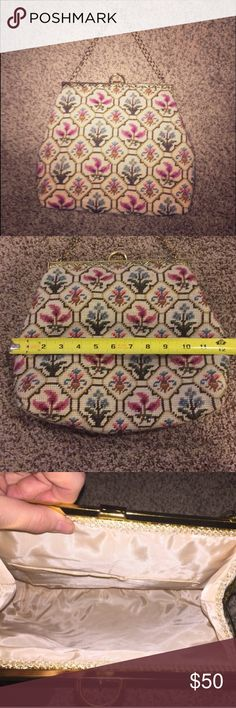 Vintage needlepoint bag Simply gorgeous vintage needlepoint bag. Hinged antiqued gold-tone closure/latch and chain strap. Interior pocket. Beautiful mint condition. Lining is clean, shows no sign of use. 🚫NO TRADES Bags