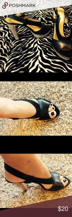 Black Nine West high heels Cork heels 3inches Nine West Shoes Platforms
